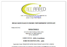 BBBEE Level 2 Certificate